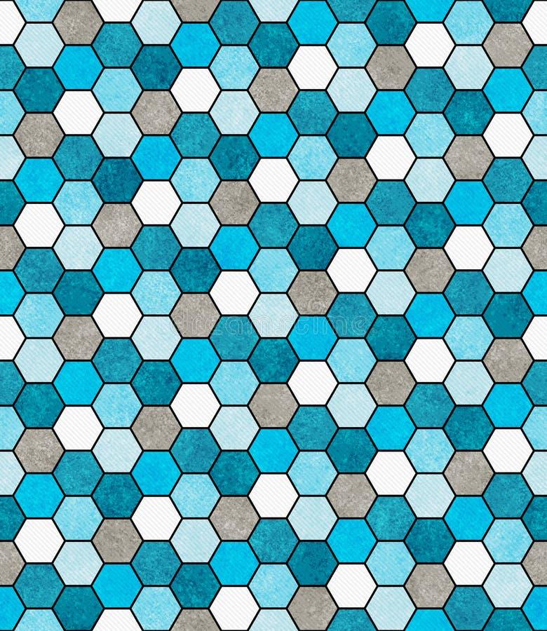 蓝色,白色和灰色六角形马赛克摘要几何设计钛 免版税库存照片