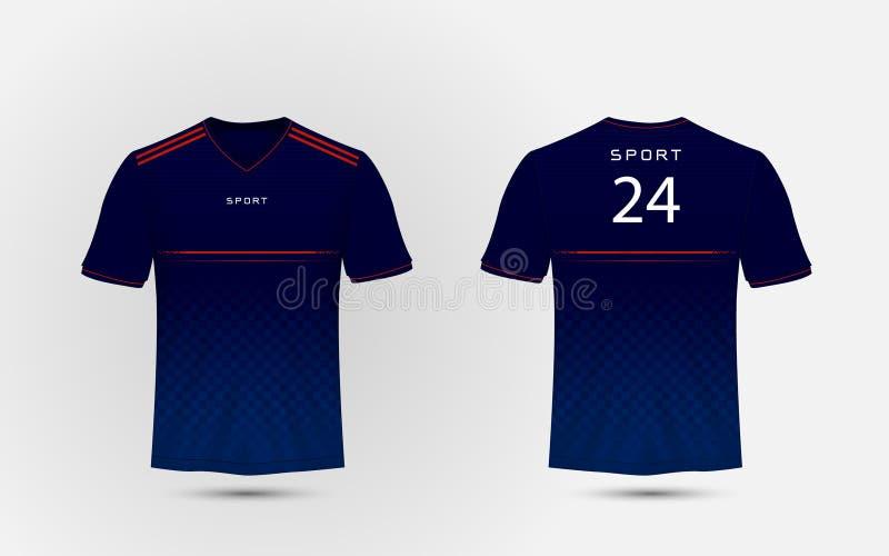 蓝色,白色和红线布局橄榄球体育T恤杉,成套工具,球衣,衬衣设计模板 向量例证