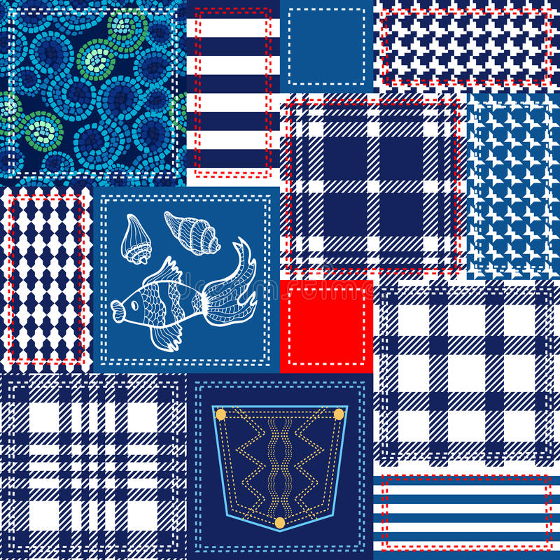 蓝色,白色和红色补缀品 由棉花挡水板做的漂泊样式拼贴画 皇族释放例证