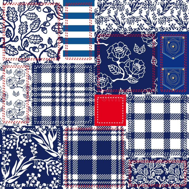 蓝色,白色和红色补缀品 由棉花挡水板做的漂泊样式拼贴画 库存例证