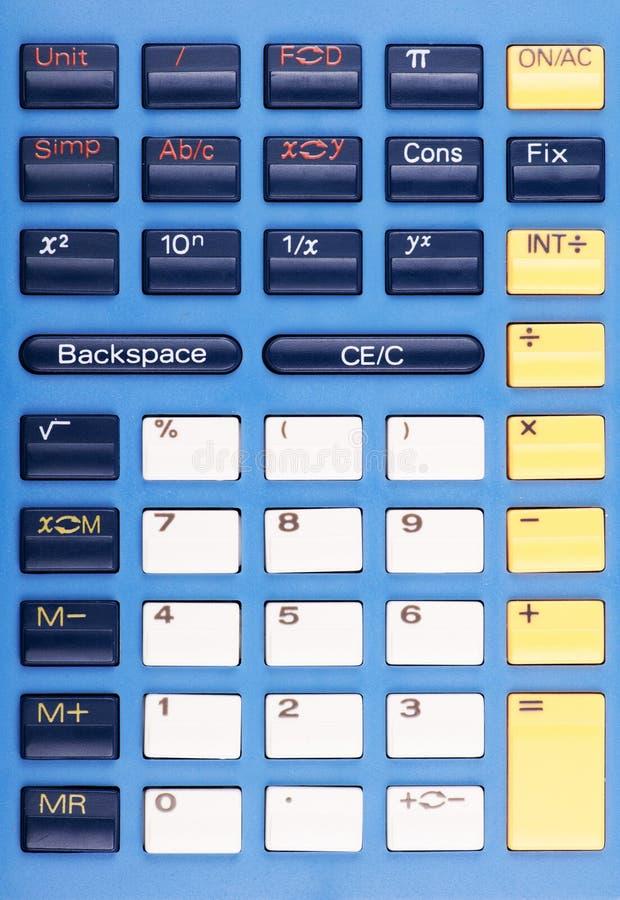 蓝色,白色和黄色计算器钥匙照片  库存照片