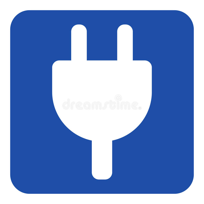 蓝色,白色标志-电子插座标志象 向量例证