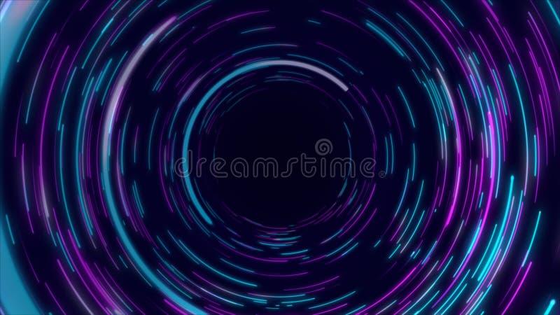 蓝色,紫色和桃红色抽象隧道通报辐形线作用背景 向量例证