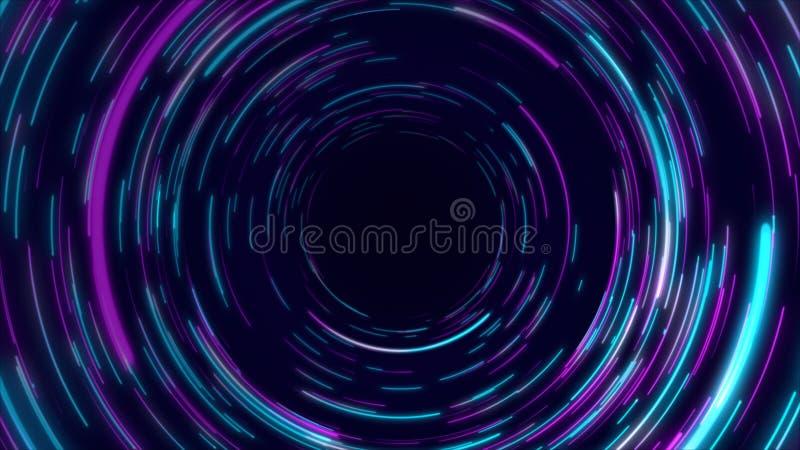 蓝色,紫色和桃红色抽象隧道通报辐形线作用背景 皇族释放例证