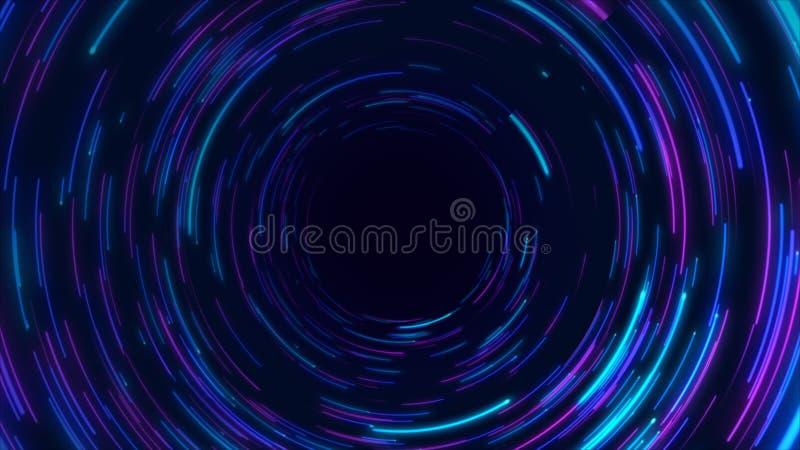 蓝色,紫色和桃红色抽象隧道通报辐形线作用背景 库存例证
