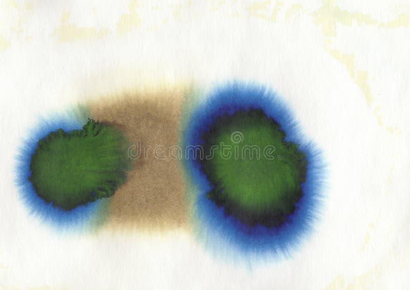 蓝色,紫色,绿色和棕色丙烯酸酯和水彩 向量例证