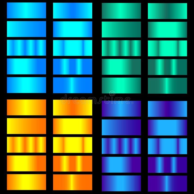 蓝色,紫色,绿色,橙色梯度 五颜六色的梯度的汇集与光滑的金属纹理的 皇族释放例证
