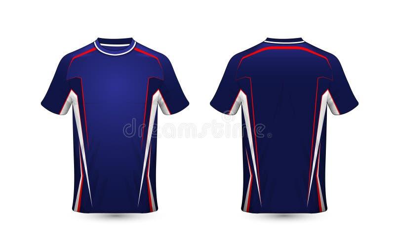 蓝色,红色和白色布局e体育T恤杉设计模板 皇族释放例证