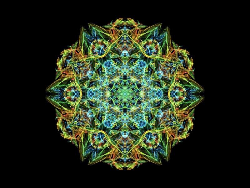 蓝色,绿色和黄色抽象火焰坛场花,在黑背景的装饰花卉圆的样式 向量例证