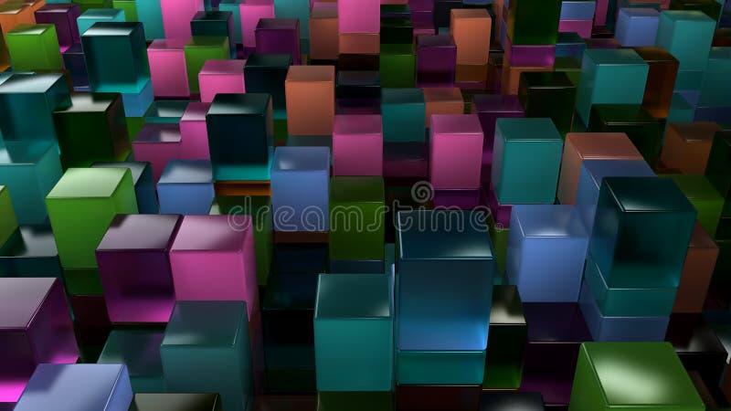 蓝色,绿色,橙色和紫色玻璃立方体墙壁  库存例证