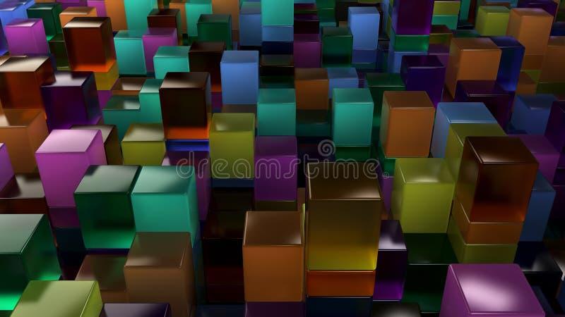 蓝色,绿色,橙色和紫色玻璃立方体墙壁  向量例证