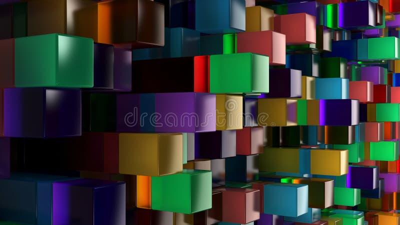 蓝色,绿色,橙色和紫色玻璃立方体墙壁  皇族释放例证