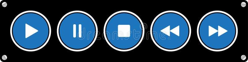 蓝色,被设置的白色圆的音乐控制按钮 向量例证