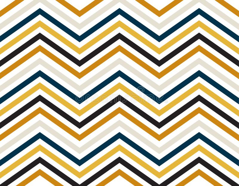 蓝色,金子,灰色和黑颜色之字形线在白色背景的 图库摄影