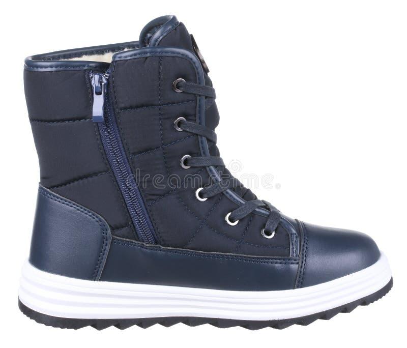 蓝色,黑白皮革和纺织品冬天侧视图  免版税库存图片