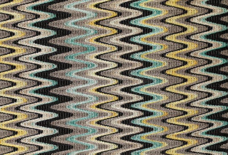 蓝色,黄色和灰色挥动垂直线样式织品 免版税库存图片