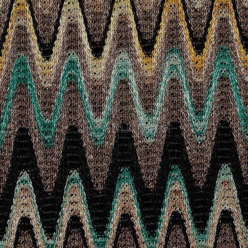 蓝色,黄色和灰色挥动线样式织品 库存照片