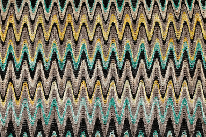 蓝色,黄色和灰色挥动水平线样式织品 免版税库存图片