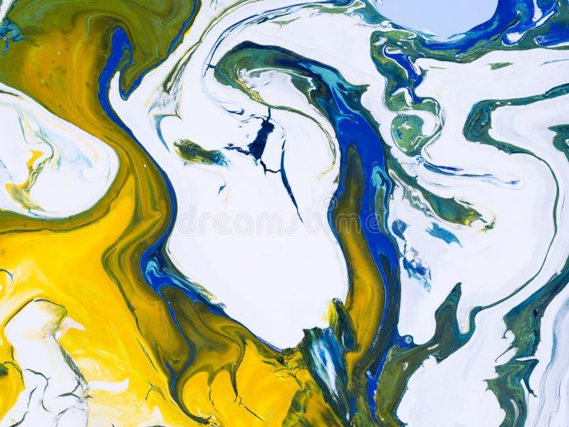 蓝色,绿色和黄色创造性的抽象手画背景 向量例证