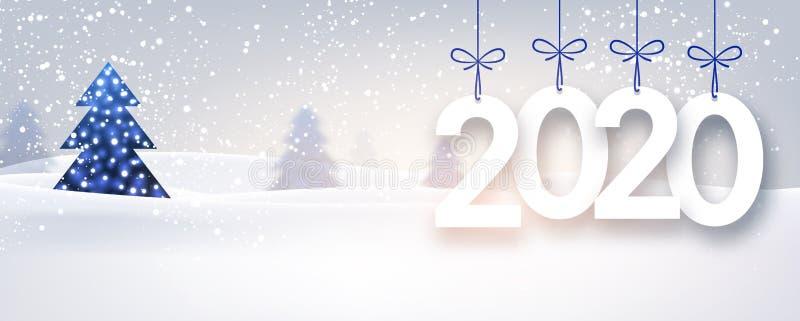 蓝色2020与冬天风景的新年背景 皇族释放例证