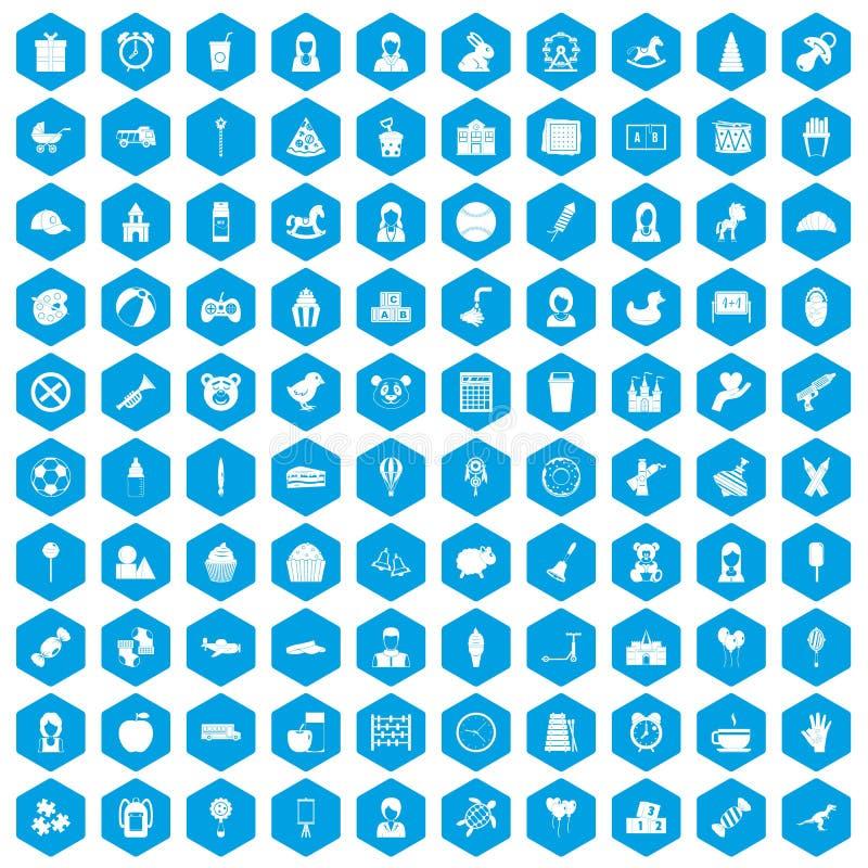 蓝色100个儿童中心的象被设置 皇族释放例证