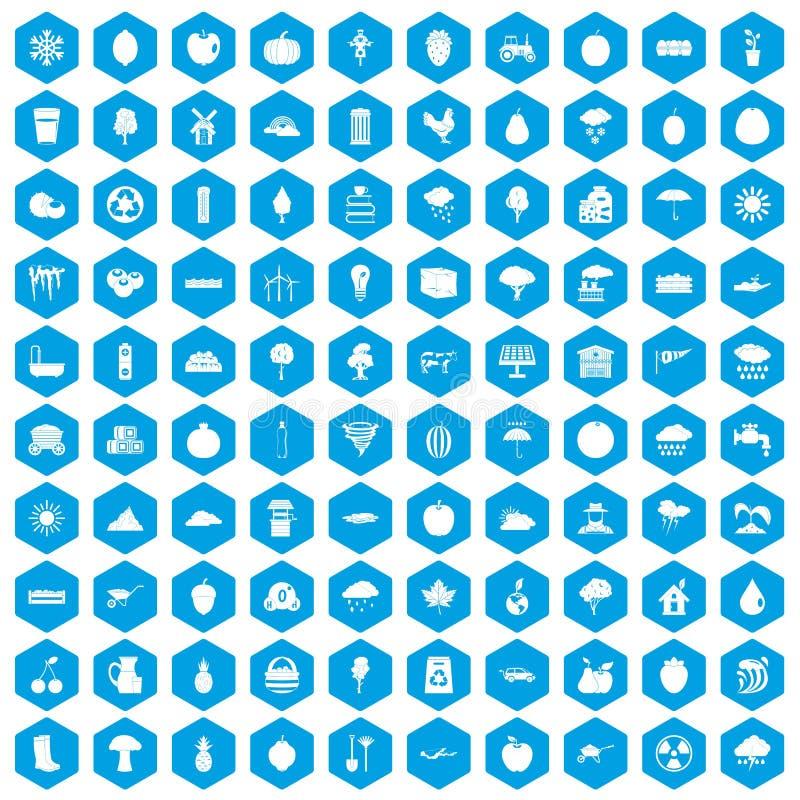 蓝色100个果子的象被设置 皇族释放例证