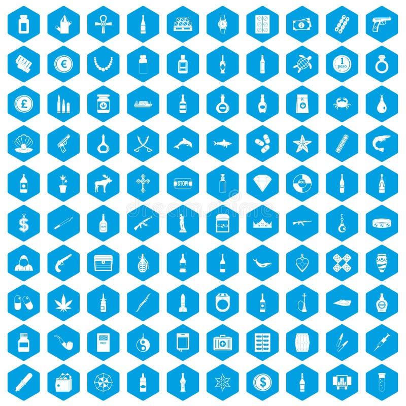 蓝色100个走私的物品的象被设置 向量例证