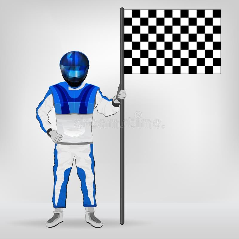 蓝色整体常设竟赛者藏品检查了旗子传染媒介 皇族释放例证