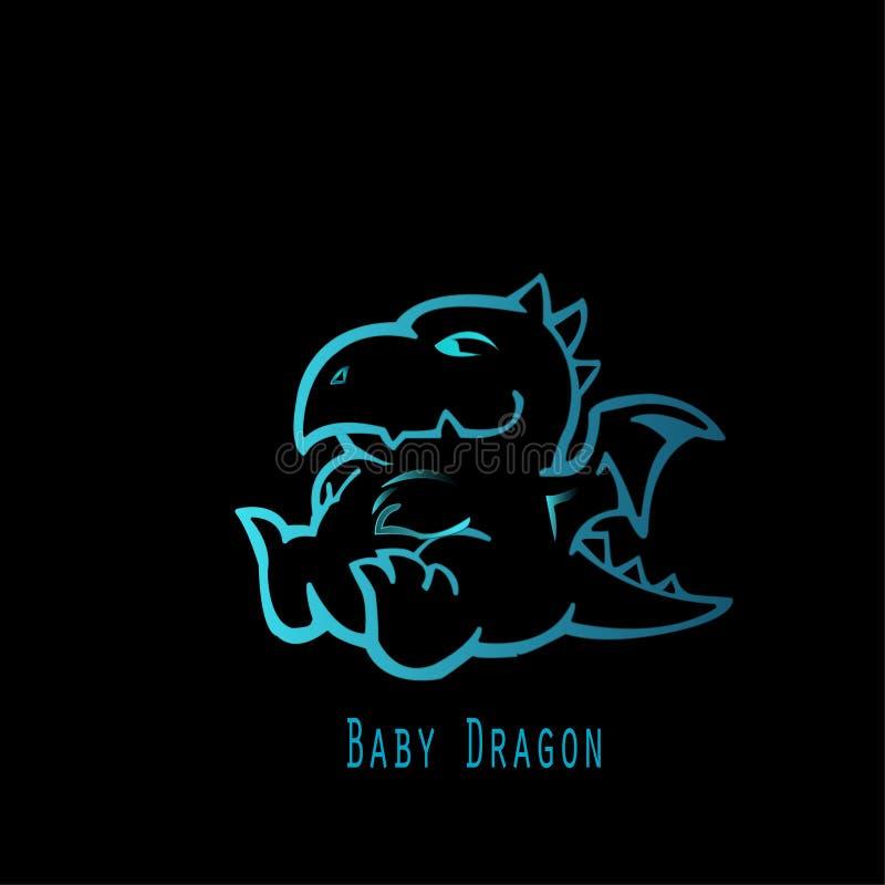 蓝色婴儿龙 库存图片