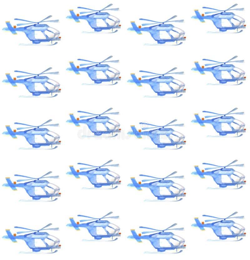 蓝色直升机 水彩无缝的样式 库存例证