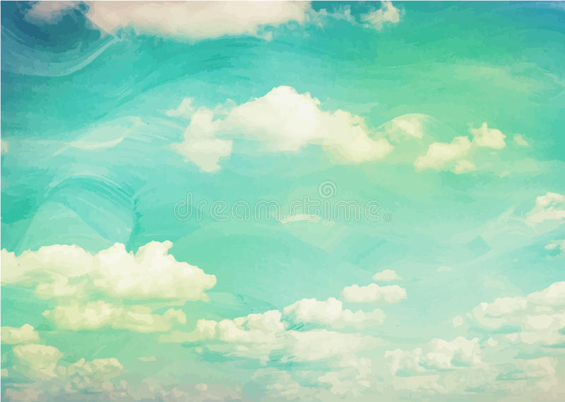蓝色水彩云彩和天空 向量例证