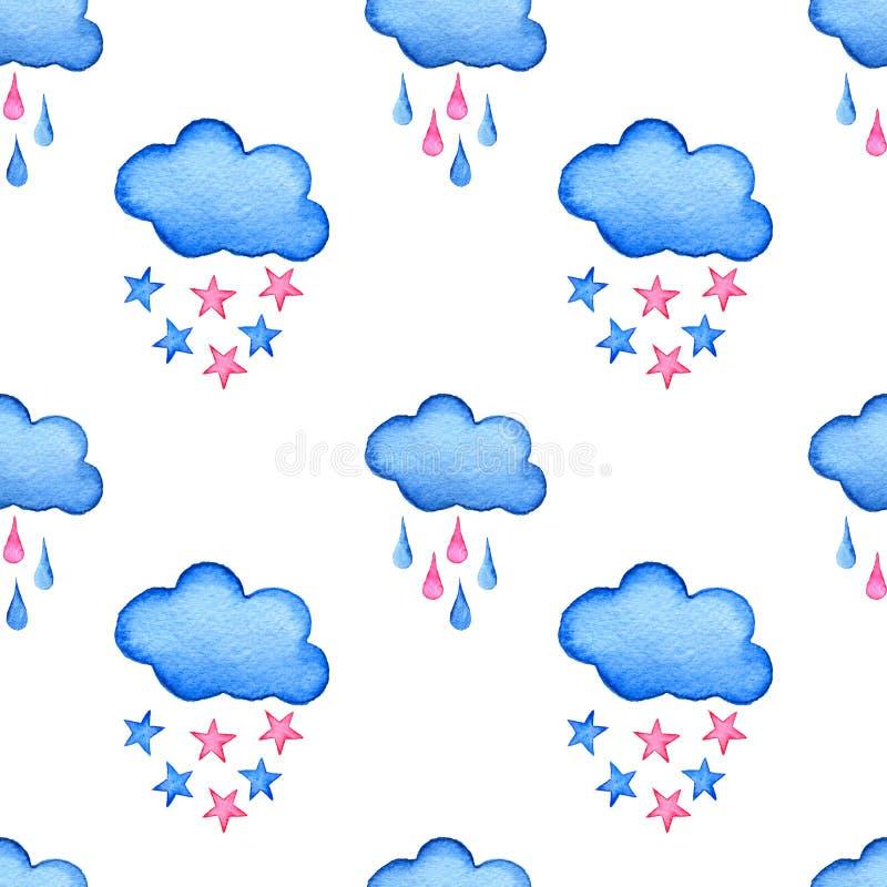 蓝色水彩云彩和星背景 在白色隔绝的手画云彩 向量例证