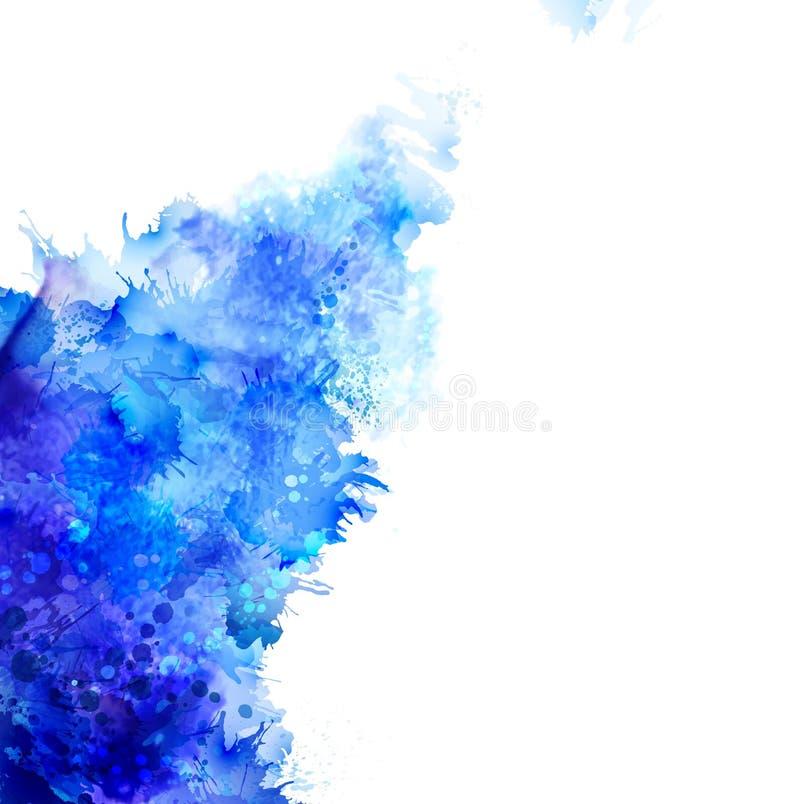 蓝色水彩污点 向量例证
