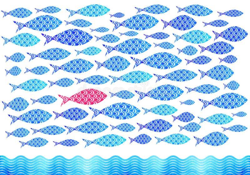 蓝色水彩海洋钓鱼背景 皇族释放例证