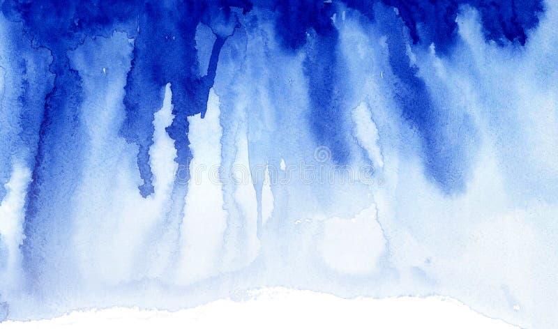 蓝色水彩纹理条纹 库存例证