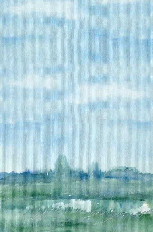 蓝色水彩背景风景 皇族释放例证