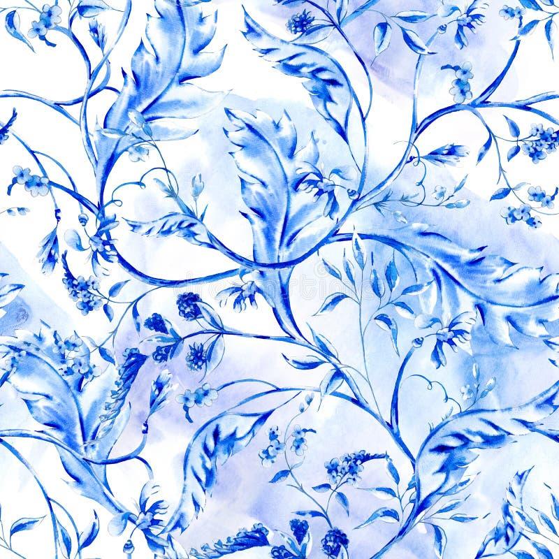 蓝色水彩花无缝的样式 库存例证
