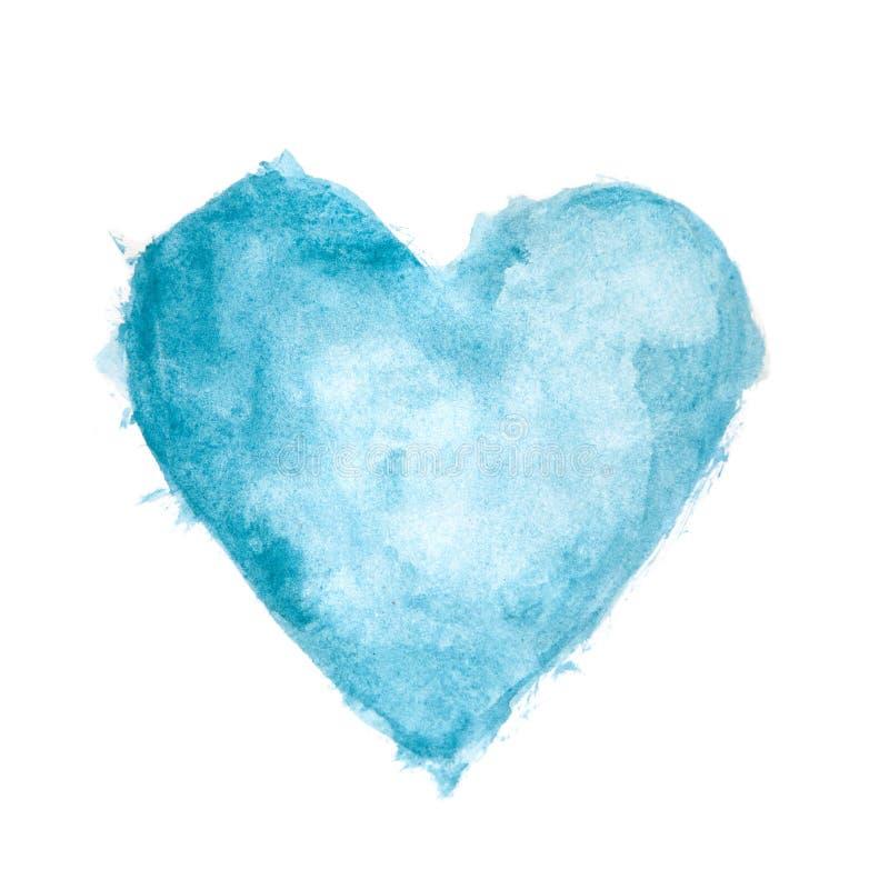 蓝色水彩被绘的织地不很细心脏 免版税库存图片