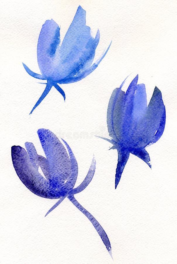 蓝色水彩郁金香 向量例证