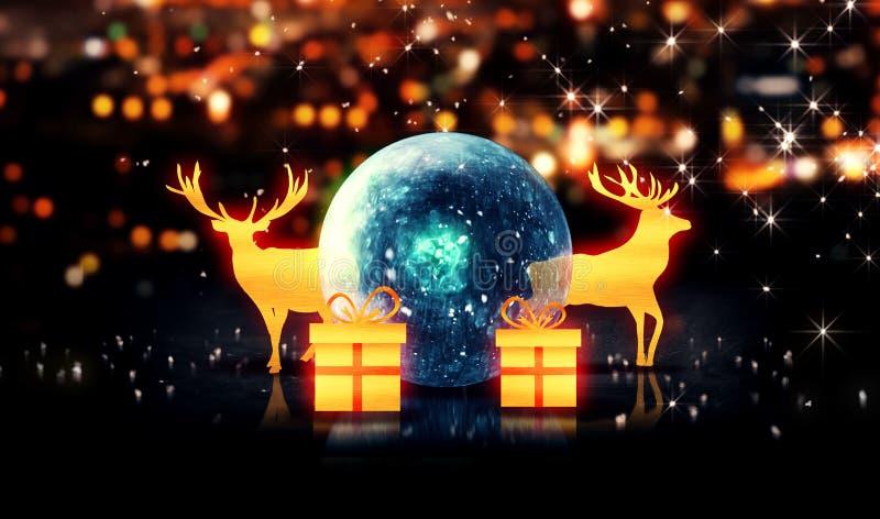 蓝色水晶中看不中用的物品金子圣诞节鹿礼物3D bokeh背景 库存例证