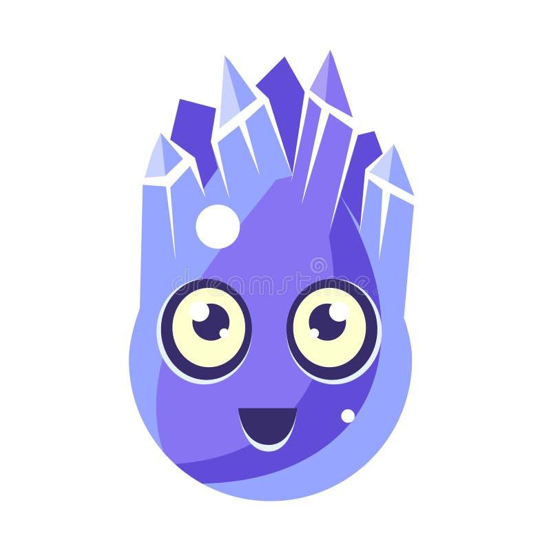 蓝色水晶冰元素,与大眼睛传染媒介Emoji象的蛋形逗人喜爱的意想不到的字符 皇族释放例证