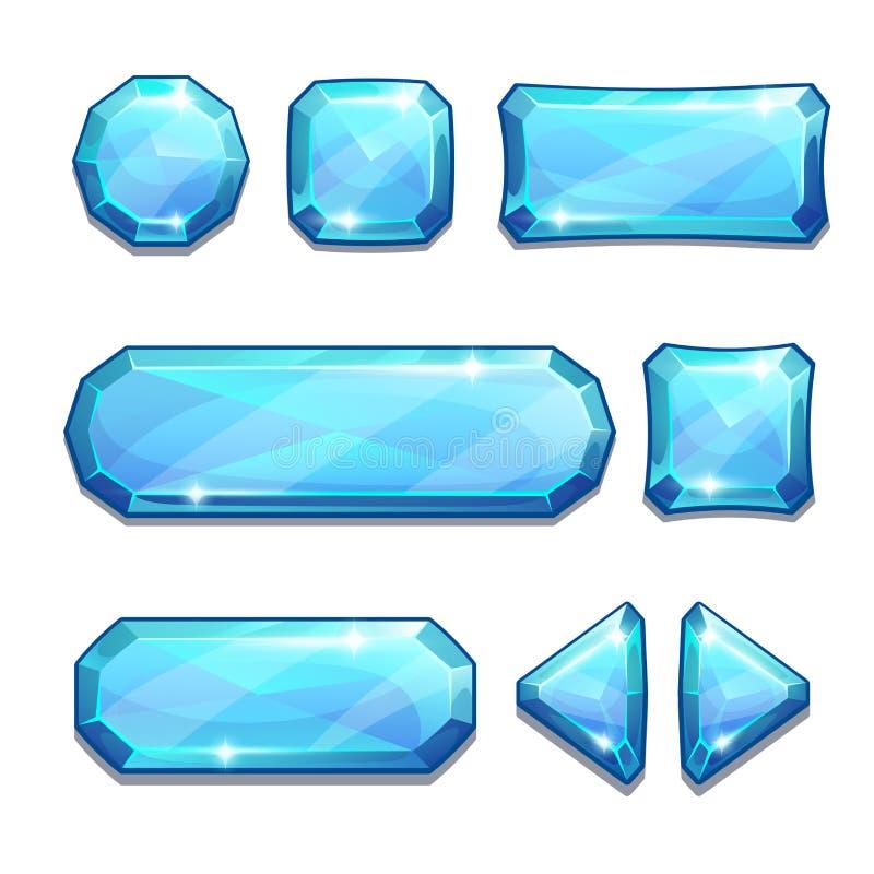 蓝色水晶按钮 皇族释放例证