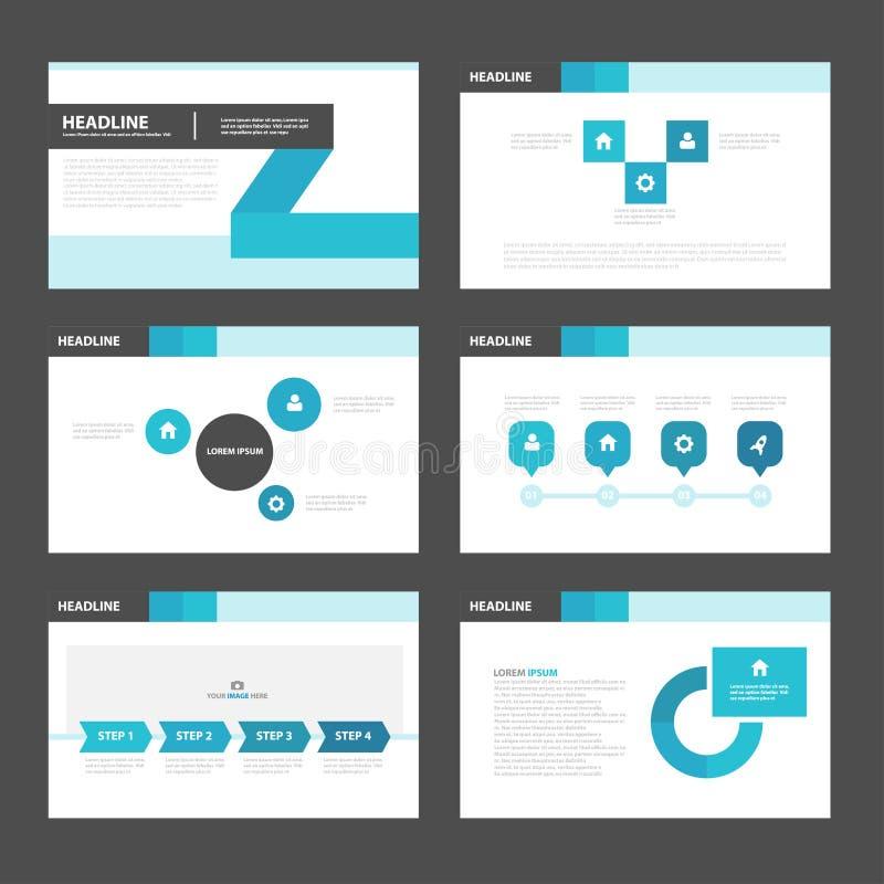黑蓝色介绍模板Infographic元素平的设计为小册子飞行物传单行销设置了 向量例证