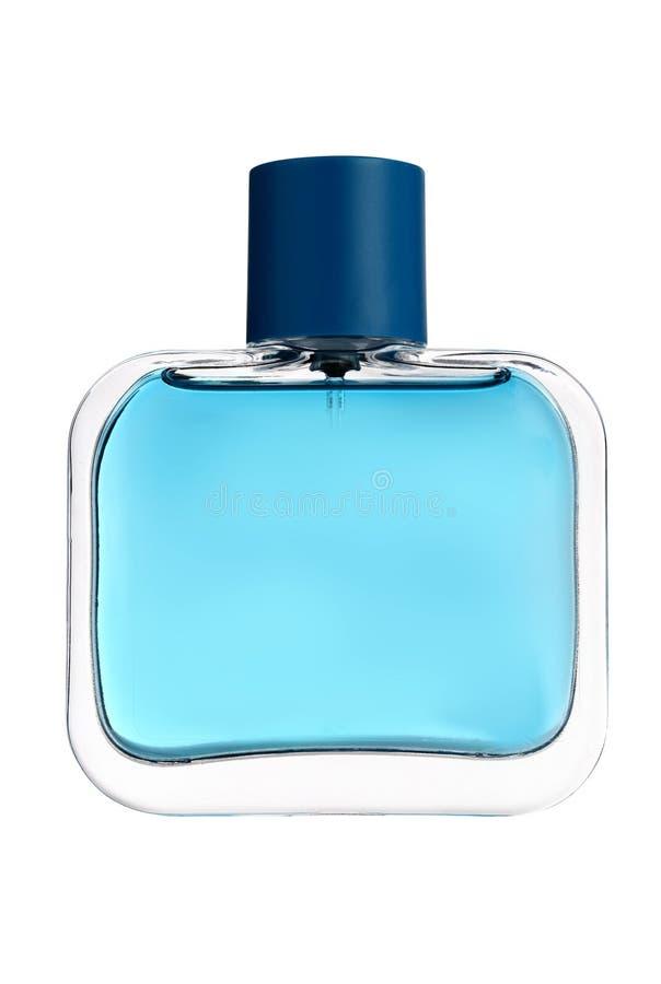 蓝色玻璃香水瓶 免版税库存图片