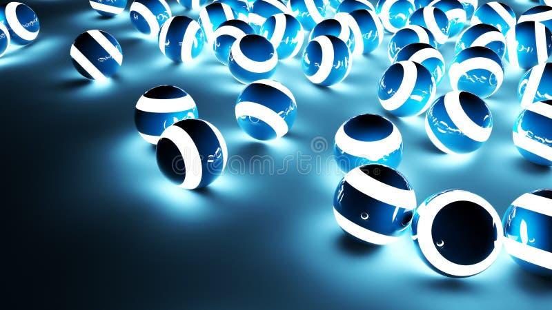蓝色轻的球背景 库存例证