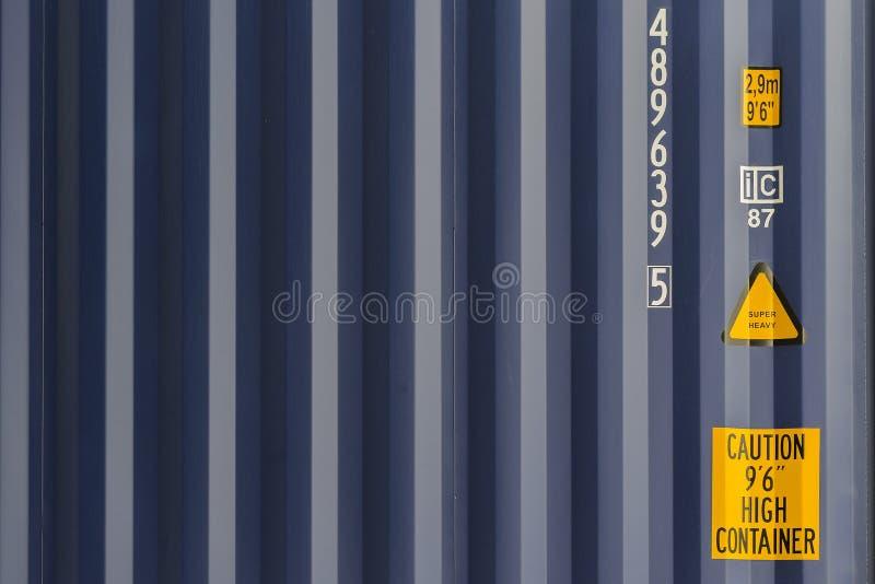 蓝色货船容器纹理 免版税库存图片