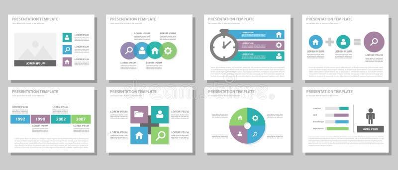 蓝色紫色和绿色多用途小册子飞行物传单网站模板平的设计 向量例证