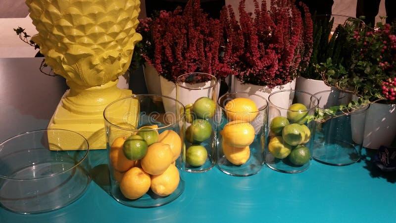 蓝色黄色果子 免版税图库摄影