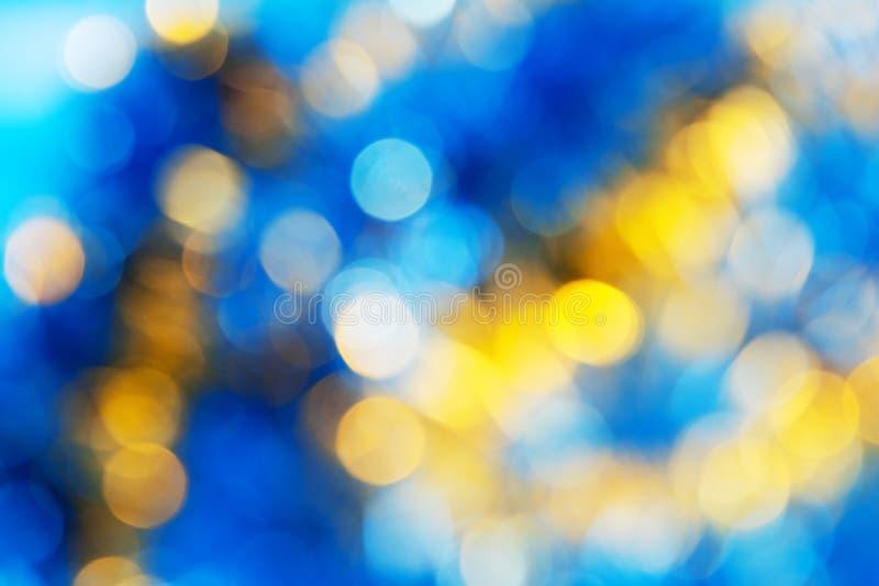 蓝色黄色白色bokeh 库存图片