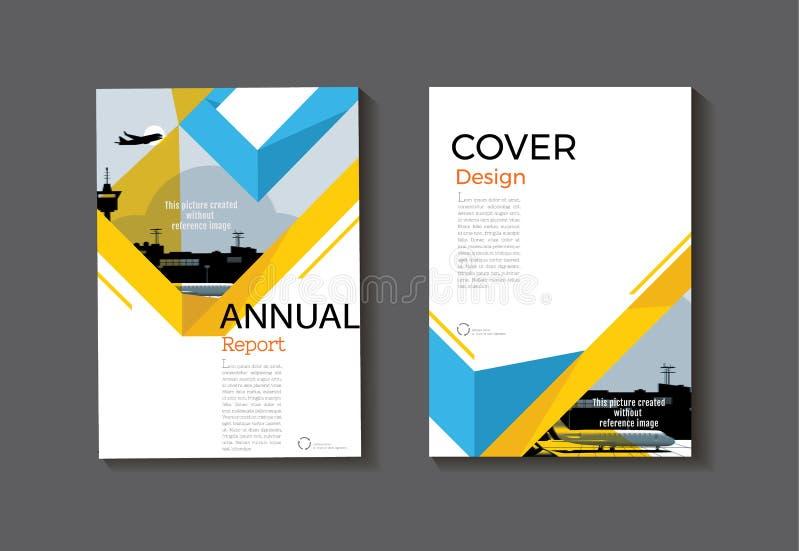 蓝色黄色设计书套现代盖子摘要小册子co 向量例证